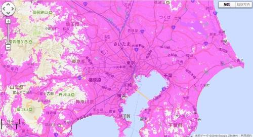 WiMAX2+のエリア地図