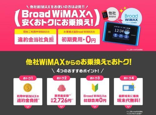 他社WiMAX乗換えで違約金負担