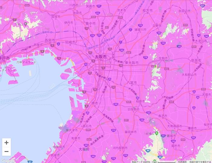 大阪府のWiMAX2⁺の対応エリア(公式サイト情報)