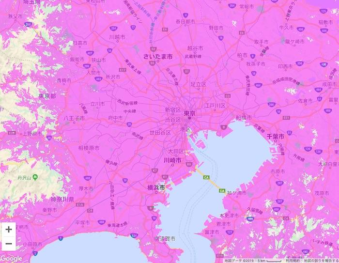 東京都のWiMAX2⁺の対応エリア(公式サイト情報)