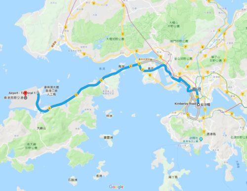 香港中心街から香港空港