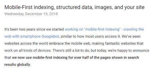 Official Google Webmasterモバイルファーストインデックス50%を超えた2018年12月発表